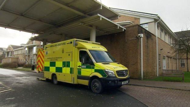 An ambulance outside Royal Glamorgan A&E