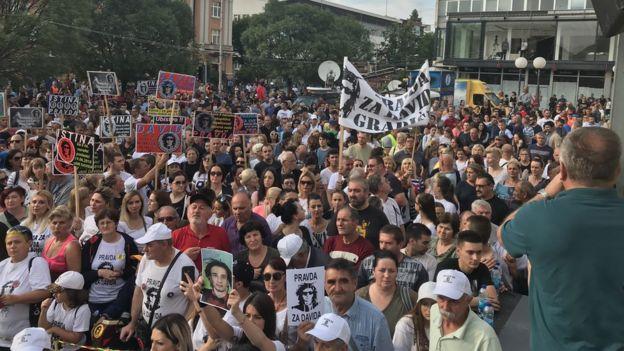 Zajednički protest porodica Memić i Dragičević u Banjaluci 7. jula 2018. godine.