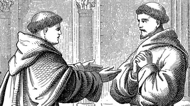 Ilustração de dois monges