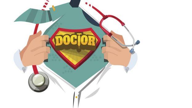 comic de doctor como superh??roe.