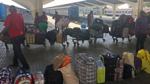 Luggage to be loaded on to the Tazara train at Dar es Salaam, Tanzania