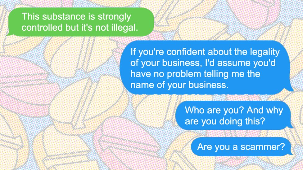 Illustration of texts exchanged with the supposed seller of deadly pills