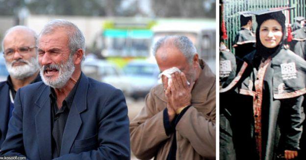 از راست زهرا بنییعقوب، پدر و خانواده او در مراسم خاکسپاری