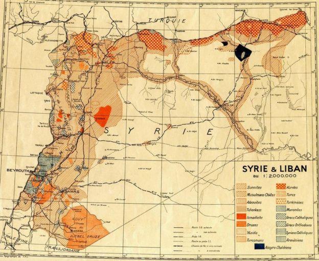 1935'te Fransız Mandası dönemine ait bir Suriye ve Lübnan haritası