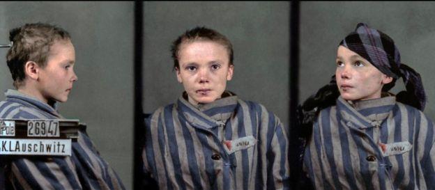 Foto de Czesława Kwoka feita no campo de concentração de Auschwitz e colorida digitalmente por Marina Amaral