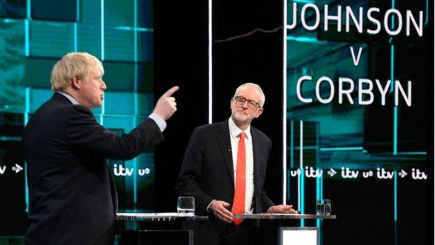 Boris Johnson (Conservador) e Jeremy Corbyn (Trabalhista)
