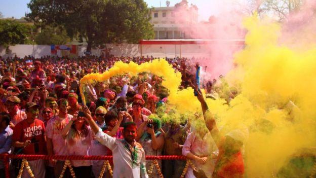 Fetsival Holi di Khasa Kothi, Jaipur, Rajasthan, India