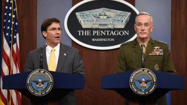 US Secretary of Defense Mark Esper (L) and Chairman of Joint Chiefs of Staff General Joseph Dunford at a press conference in August 2019