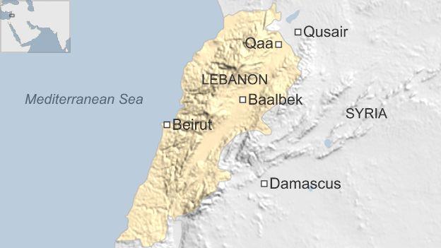 Map showing location of Qaa