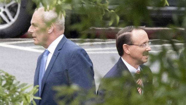 White House Chief of Staff John Kelly and Assistant Attorney General Rod Rosenstein seen after meeting