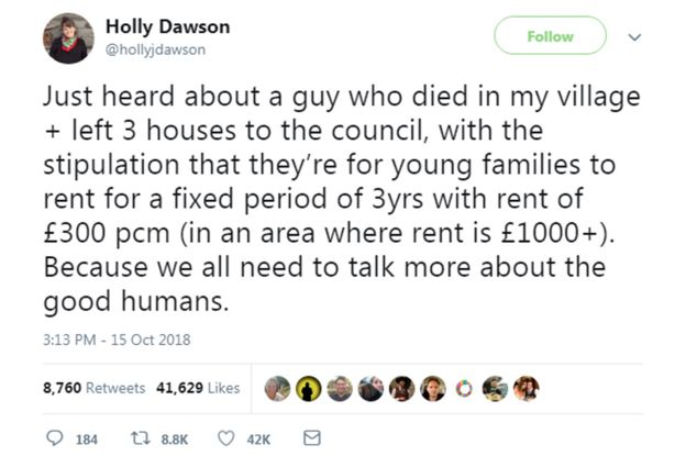 Holly Dawson's tweet about Jubilee Cottages