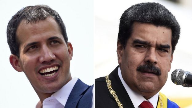 Montagem mostra fotos de Guaidó e Maduro