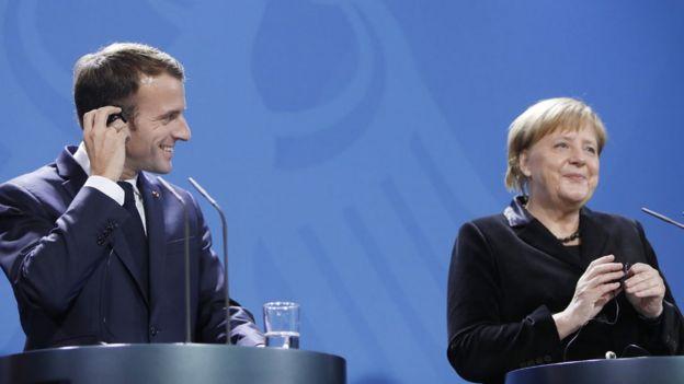 Macron ve Merkel ortak basın toplantısında