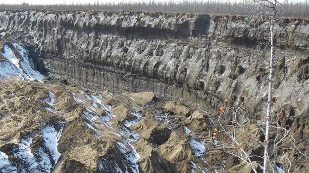 Paredes del cráter de Batagaika