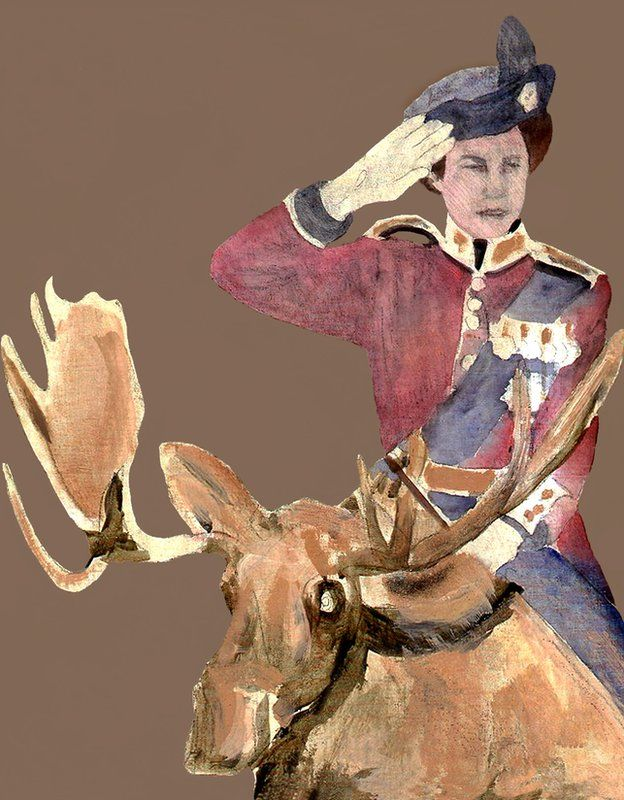 Painting of Queen on a moose