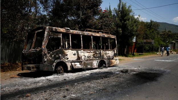bus that was torched during protests in the town of Sebeta, Oromia region, Ethiopia, October 8, 2016