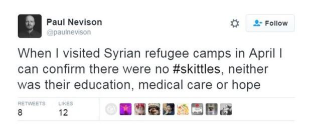 Donald Trump Jr compares Syrian refugees to Skittles - BBC News
