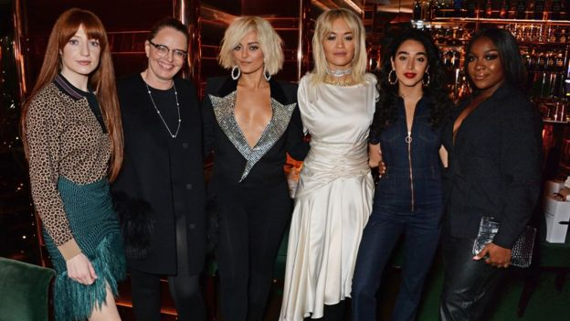 Nicola Roberts, Sarah Stennett, Bebe Rexha, Rita Ora, Kara Marni and RAY BLK at the Women In Harmony dinner in London in September