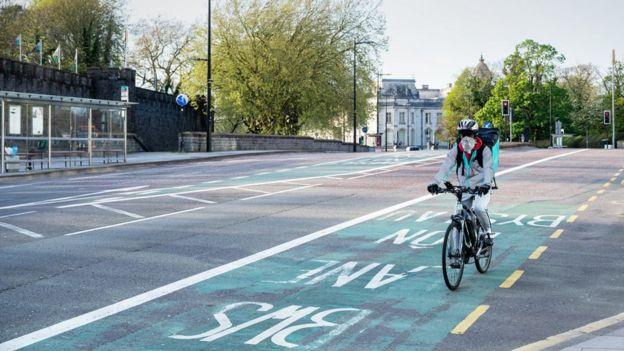 Lone cyclist in Cardiff