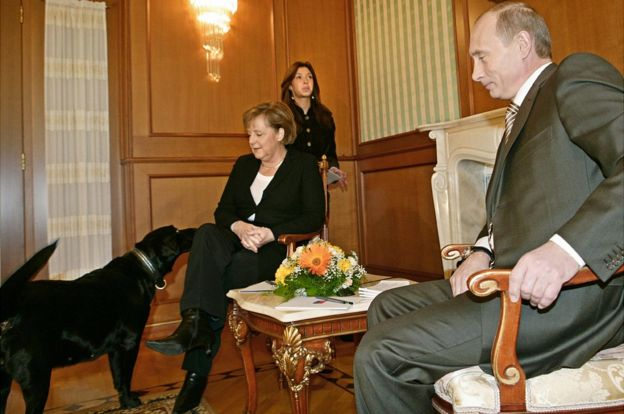 Soçi, 2007: Prezident Putinin iti Kuni Angela Merkel ilə tanış olur