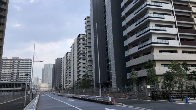 Empty streets in the athlete's village in Tokyo