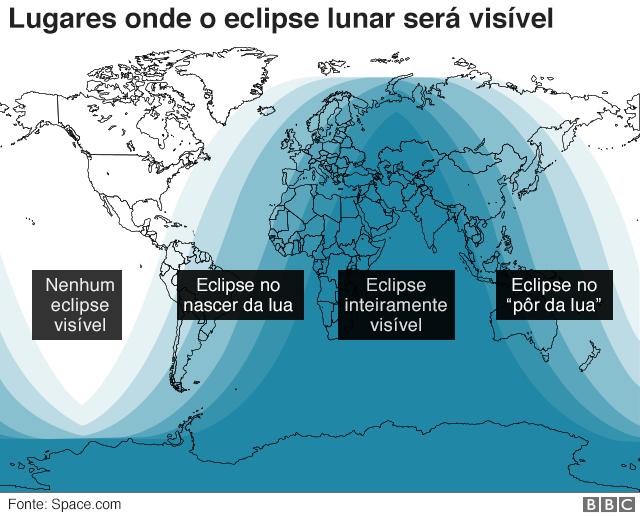 Gráfico sobre onde será visível o eclipse
