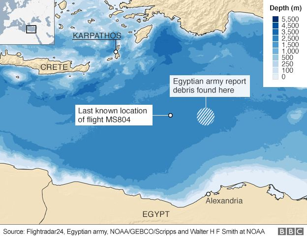 A map showing the where an EgyptAir flight went missing
