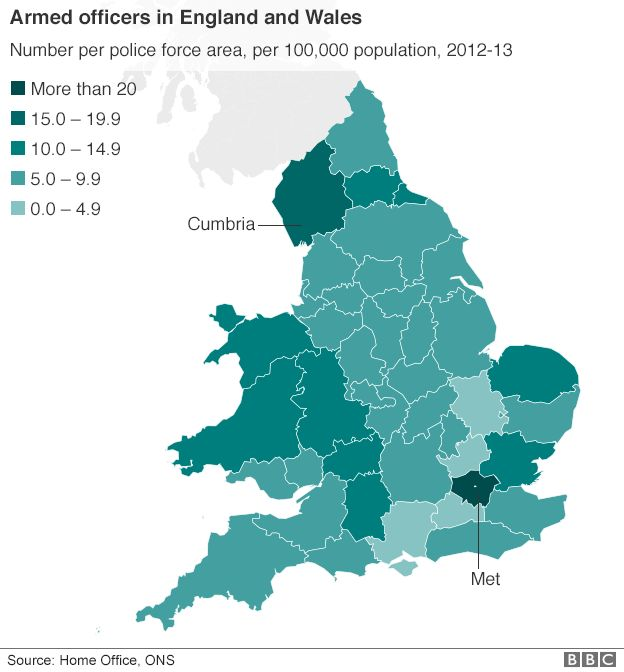 Armed officers in England and Wales map