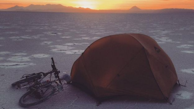 tent and bike in Bolivia