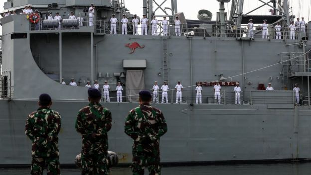 An Australian navy ship docking at a port in Jakarta, Indonesia in May 2019