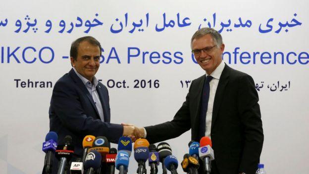 مدیران عامل پژو-سیتروئن و ایران خودرو در اکتبر ۲۰۱۶