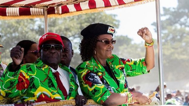 Zimbabwe President Robert Mugabe (left) with his wife Grace Mugabe (right)
