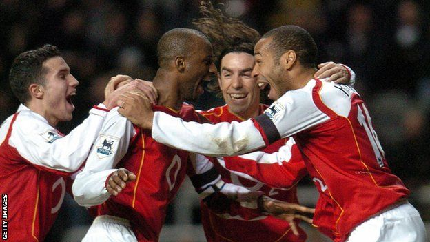 Arsenal players in action during the 2003-04 season