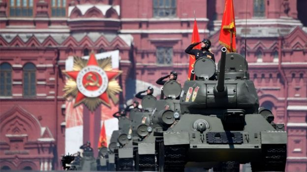 Russian servicemen march in the Victory Day Parade in Red Square in Moscow, Russia, June 24, 2020