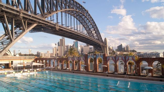 The outdoor The North Sydney Olympic Pool with the Sydney Harbour Bridge in the background