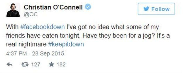 Christian O' Connell tweets to keep Facebook down