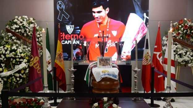 The coffin with the remains of Spanish footballer Jose Antonio Reyes at the Ramon Sanchez Pizjuan stadium in Seville, 2 June 2019