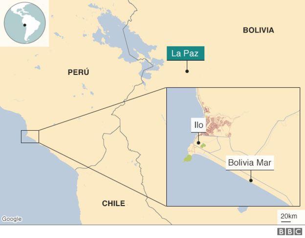 Mapa de la ubicación de Bolivia Mar