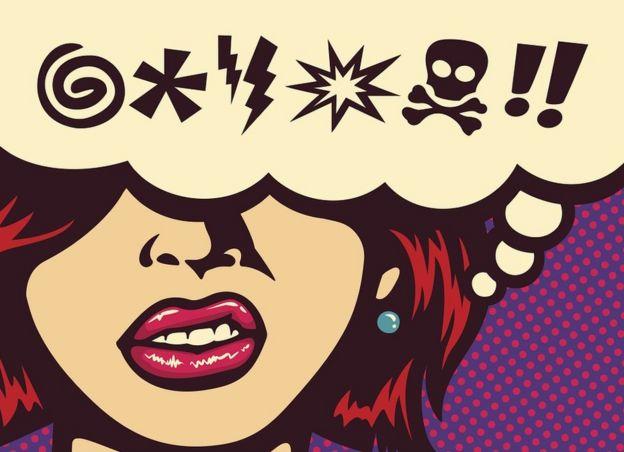 ilustração em estilo pop art mostrando mulher e símbolos para palavrões