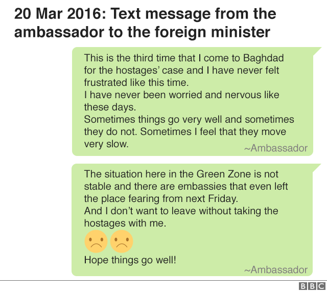 20 March 2016: text message from the ambassador to the foreign minister