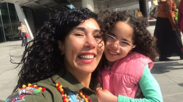 Doaa Gawish and her daughter