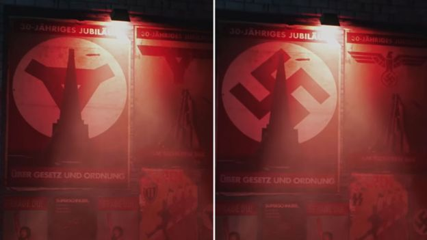 A comparison of posters affixed to the wall in Wolfenstein Youngblood: in one, the swastika has been replaced with a triangle