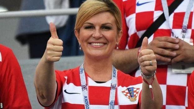 Kolinda Grabar-Kitarovic était dans les gradins lors de la finale France-Croatie de la Coupe du monde 2018.