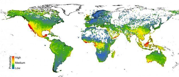 Mapa de regiones con probabilidad de necesidad de conservación
