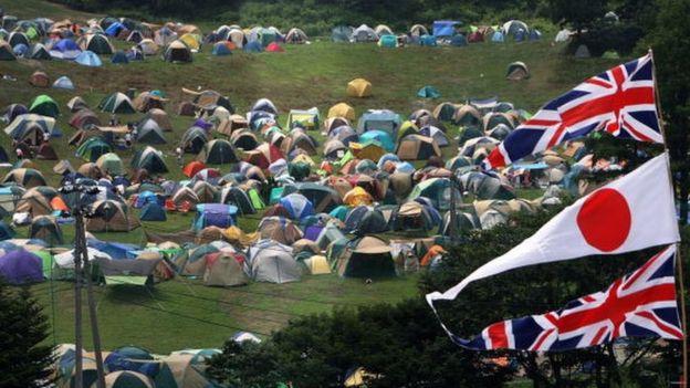 Fuji Rock Festivali'ndeki kamp alanı.