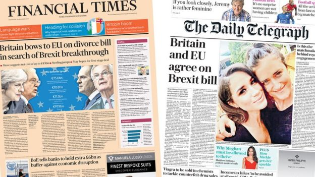 Financial Times and Daily Telegraph front pages