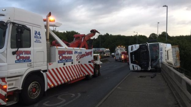 Lorry being recovered