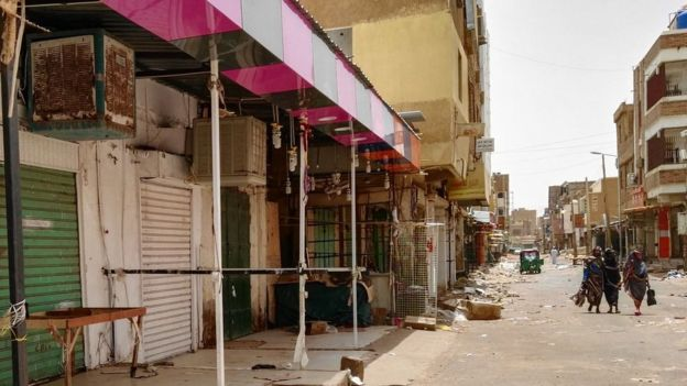 The deserted streets and barricaded shops of Khartoum's twin city, Omdurman