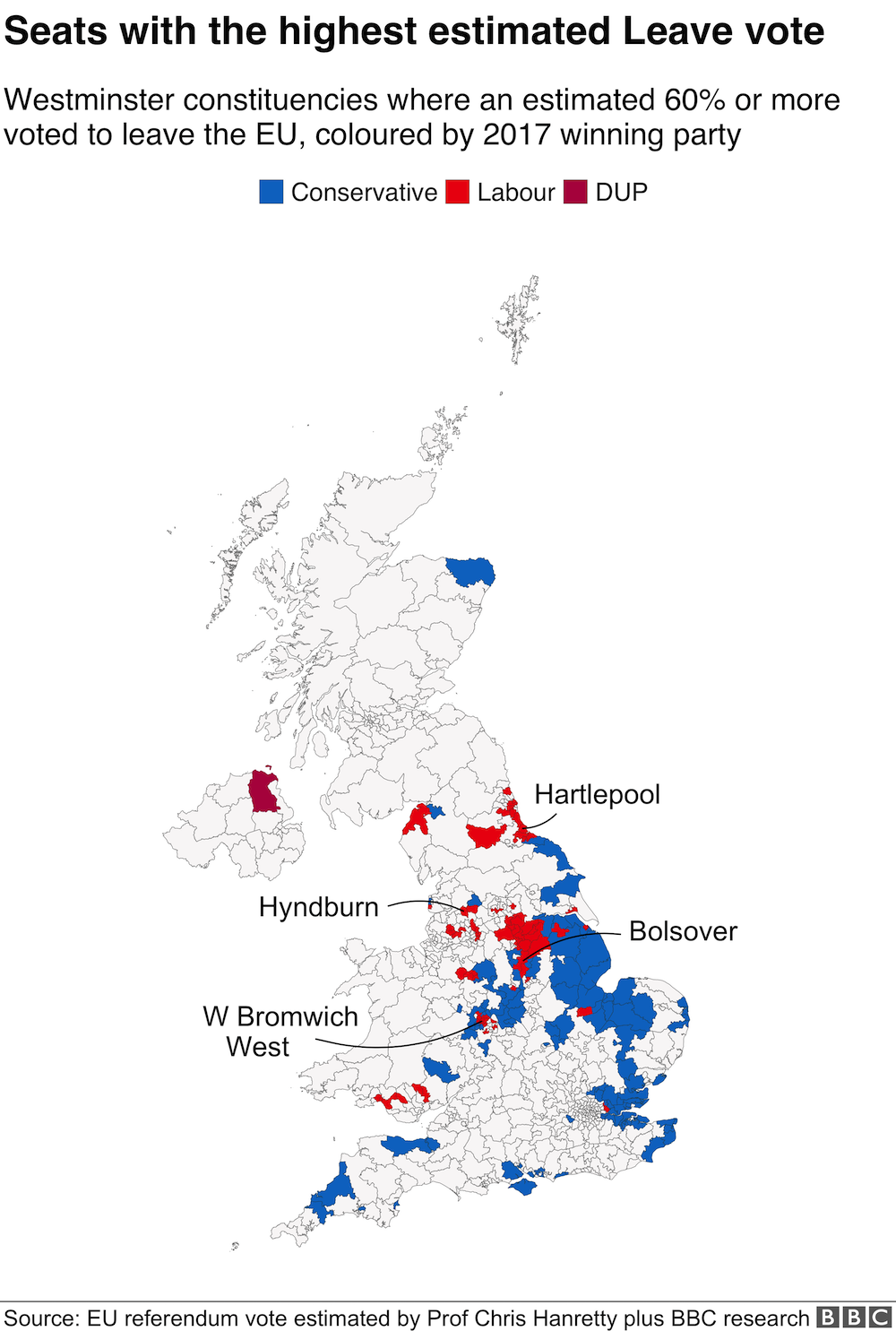 Seats with the highest estimated Leave vote