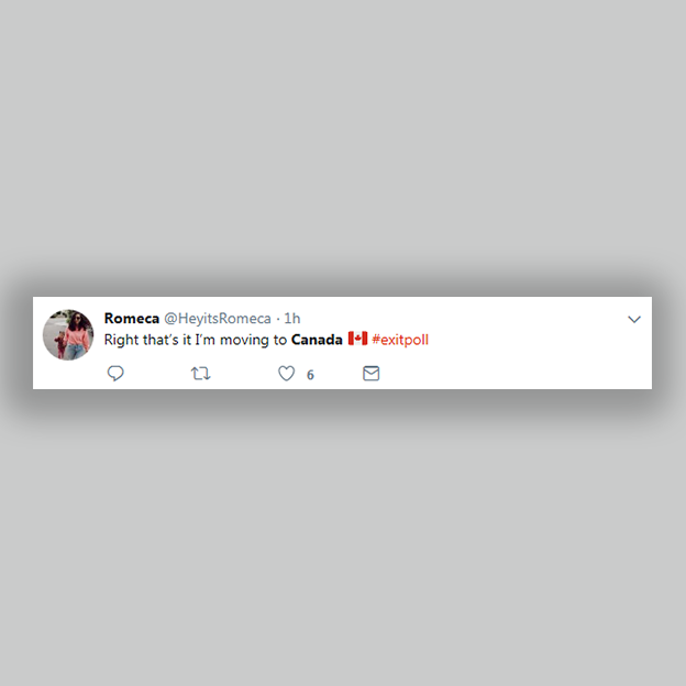 "tweet: ""that's right, I'm moving to Canada"""